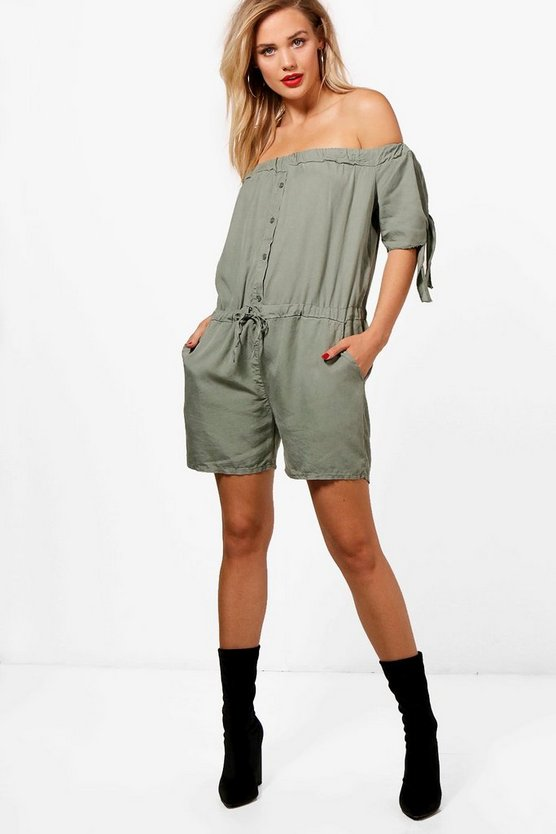 Aria Off Shoulder Tie Sleeve Playsuit