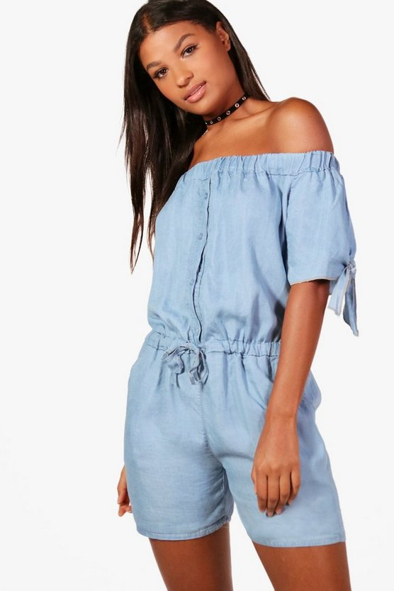 Sophia Denim Look Off The Shoulder Playsuit