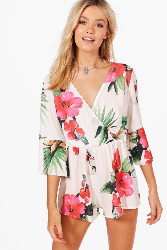 Charlotte Hibiscus Print Wrap Front Playsuit