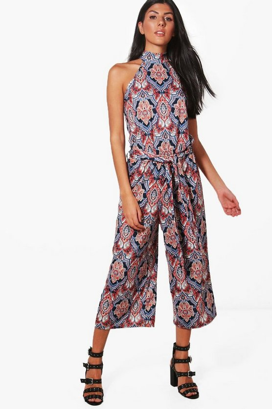 Megan High Neck Tie Belt Pailsey Culotte Jumpsuit