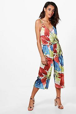 Libby Jumpsuit mit Hosenrock und großem Palmen-Print - Boohoo.com