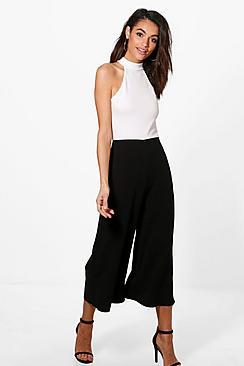 Emilia Jumpsuit im schwarz-weißen Farbblock-Design mit Hosenrock - Boohoo.com