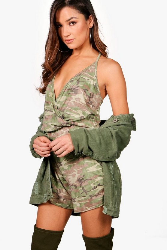 Lexi Cami Wrap Camo Playsuit