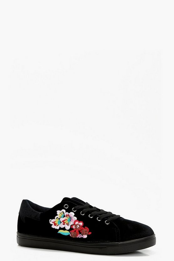 Alice Lace Up Embroidered Velvet Trainers