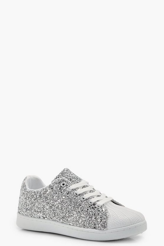 Phoebe Glitter Lace Up Trainers
