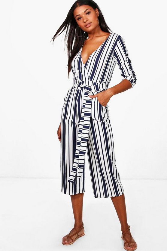 Camy Striped Wrap Over Tie Belt Culotte Jumpsuit
