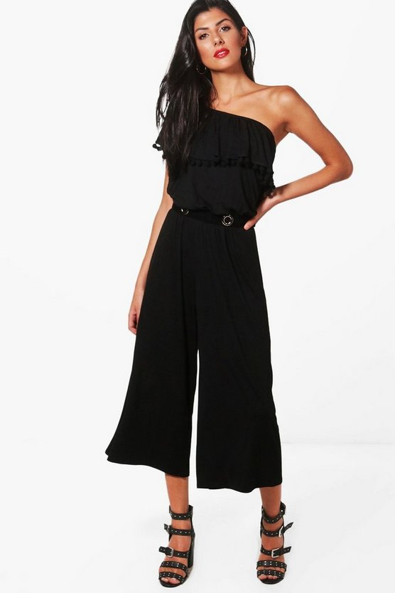 Isabel One Shoulder Pom Pom Culotte Jumpsuit