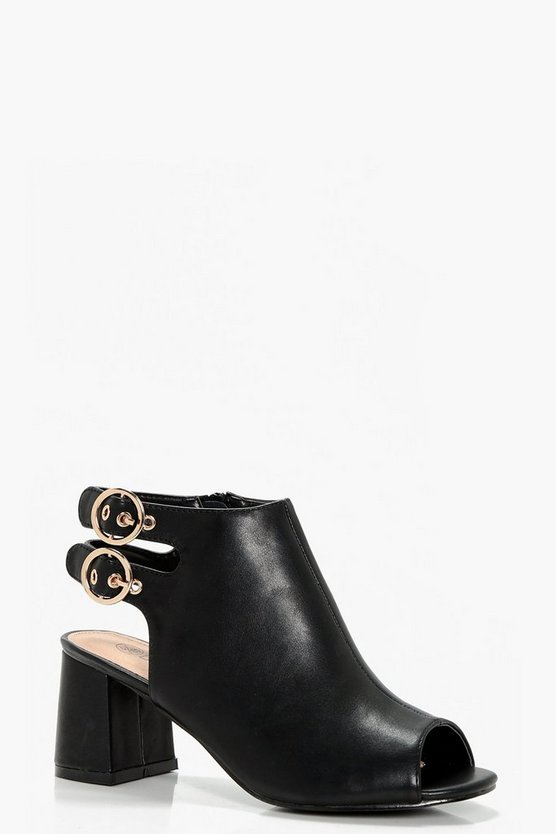 Lexi Buckle Detail Peeptoe Shoe Boot