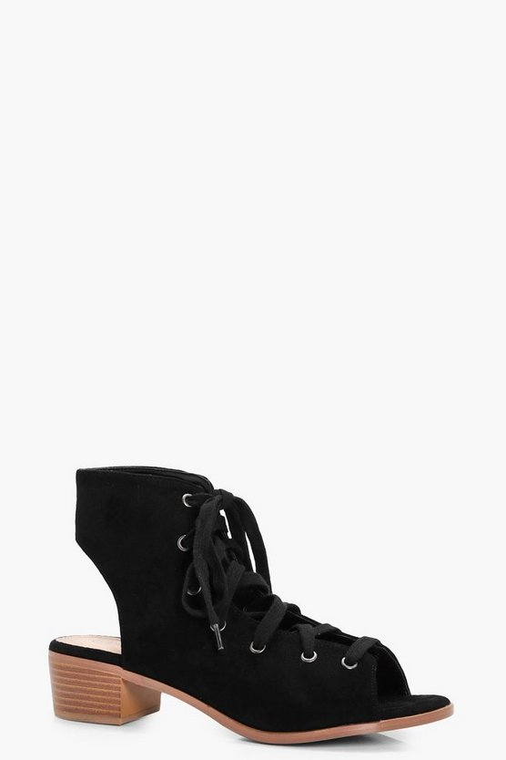 Anna Lace Up Block Heel Sandal