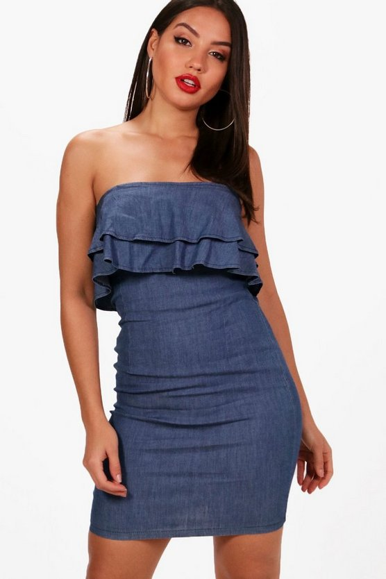 Ruby Ruffle Off The Shoulder Denim Dress