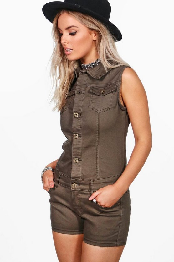 Kelly Khaki Utility Denim Playsuit