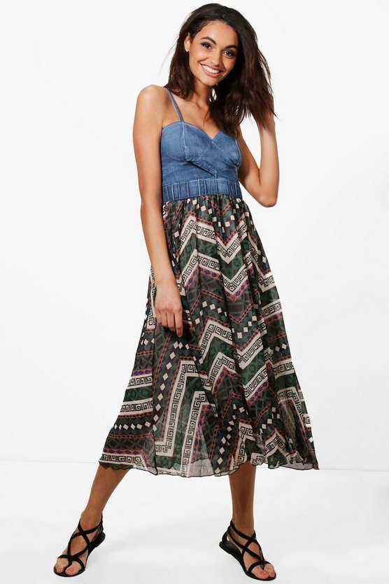 Cally Contrast Woven Denim Bralet Dress