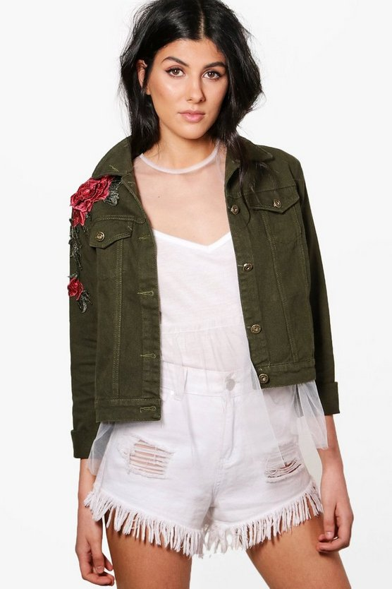 Fiona Floral Applique Slim Fit Denim Jacket
