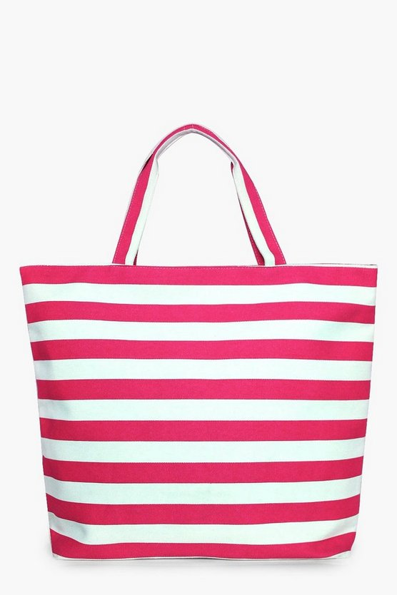 Molly Pink Stripe Beach Bag