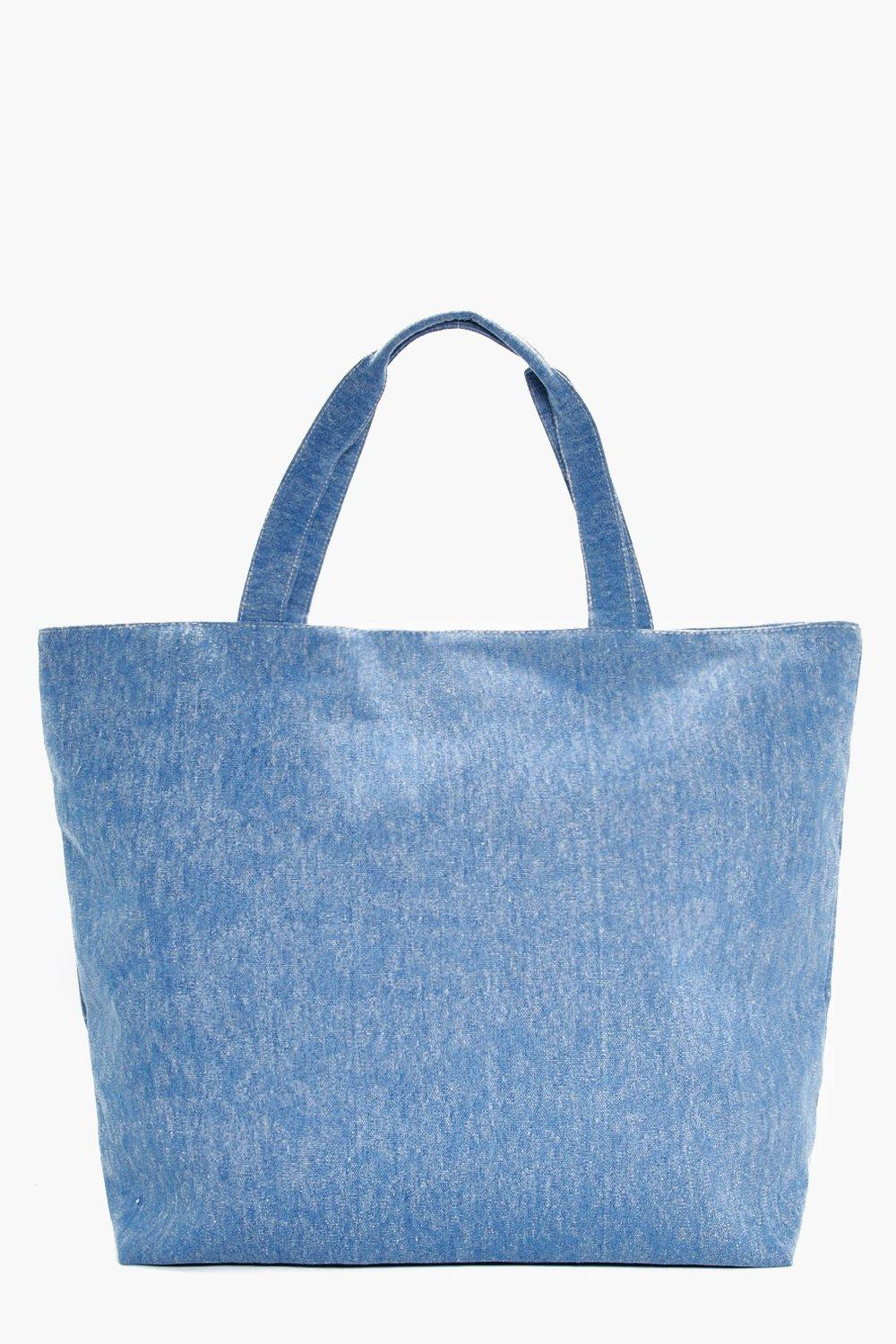 Mottled Denim Beach Bag - blue - Sofia Mottled Den