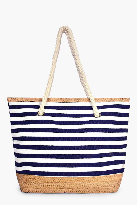 Stripe & Straw Beach Bag - blue - Matilda Stripe &