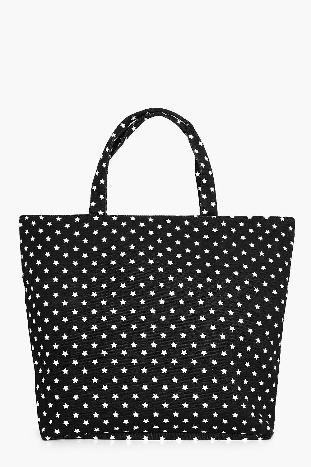 Star Print Beach bag - black - Anna Star Print Bea