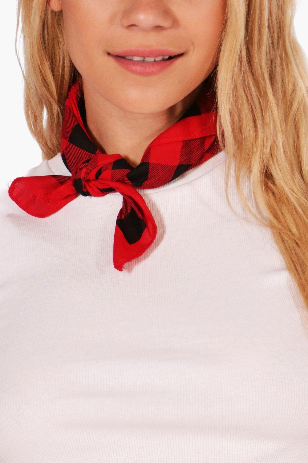 Gingham Check Bandana Necktie - red - Jenni Gingha