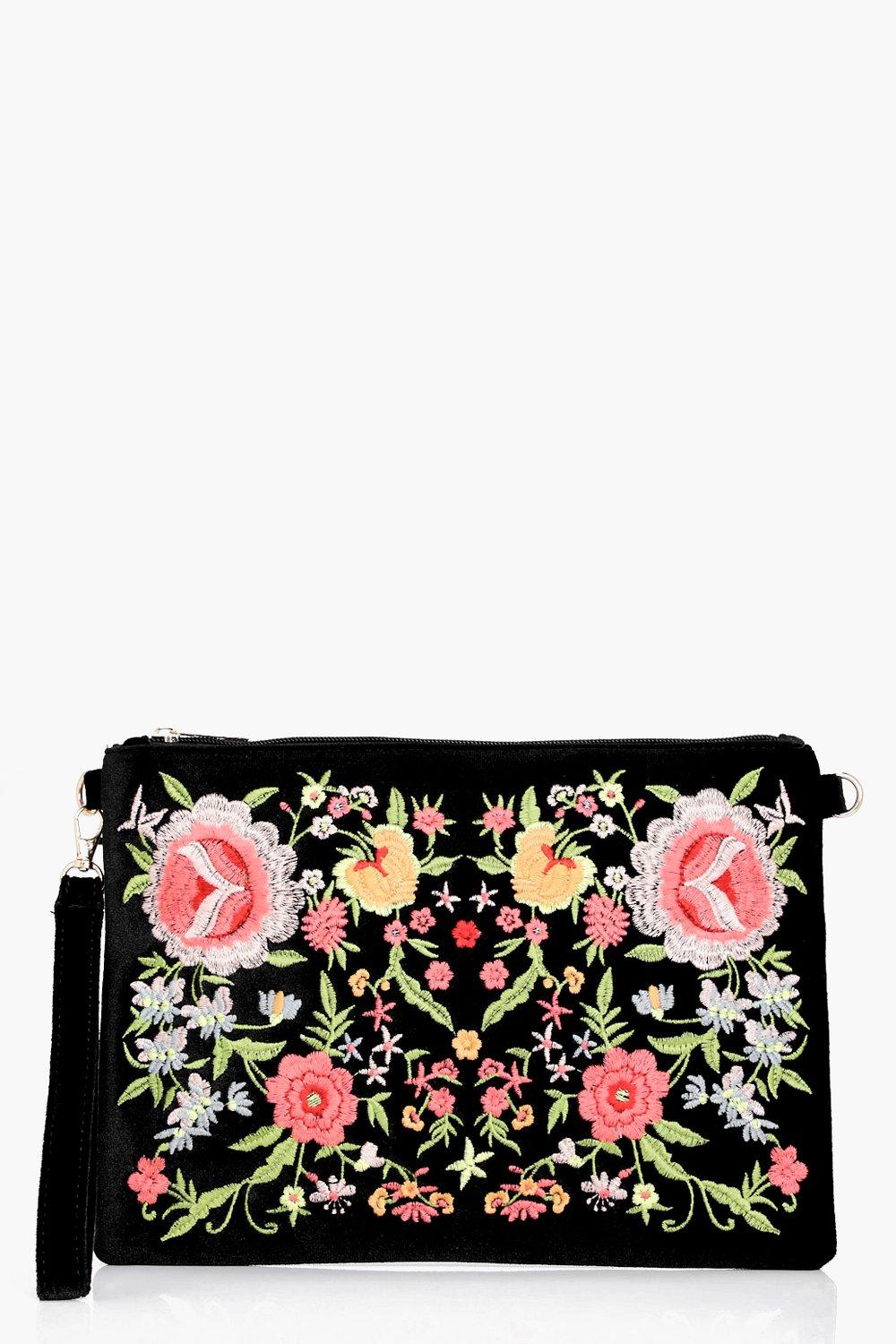 All Over Embroidered Clutch - black - Hannah All O