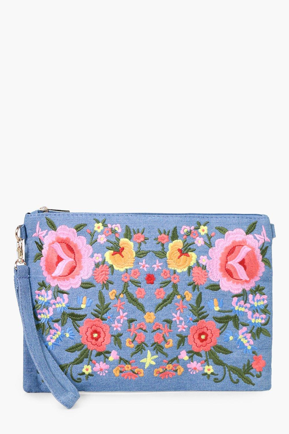 All Over Embroidered Denim Clutch - blue - Lisa Al