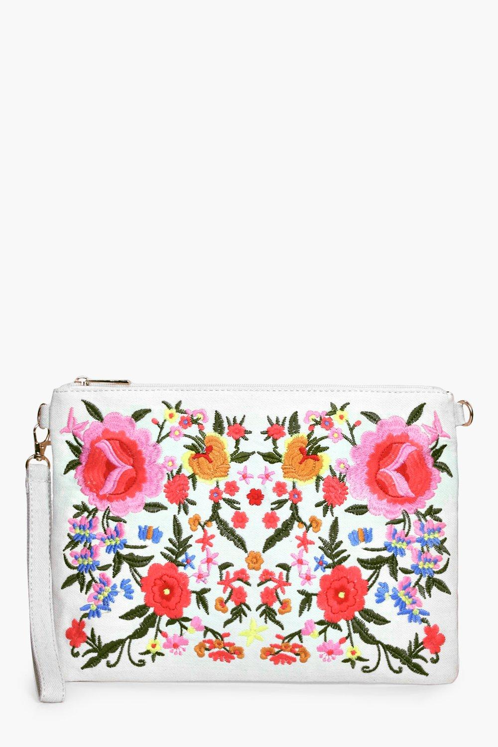 All Over Embroidered Denim Clutch - white - Lisa A
