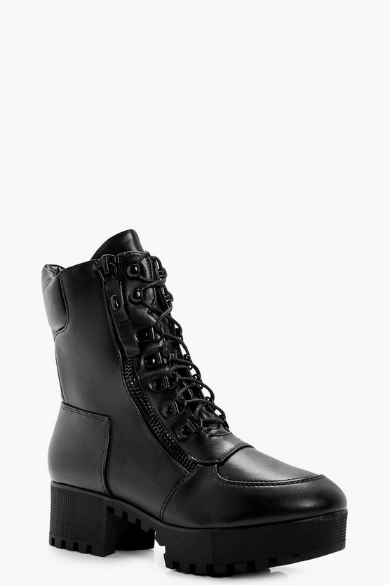 Yasmin Lace Up Hiker Boot With Platform