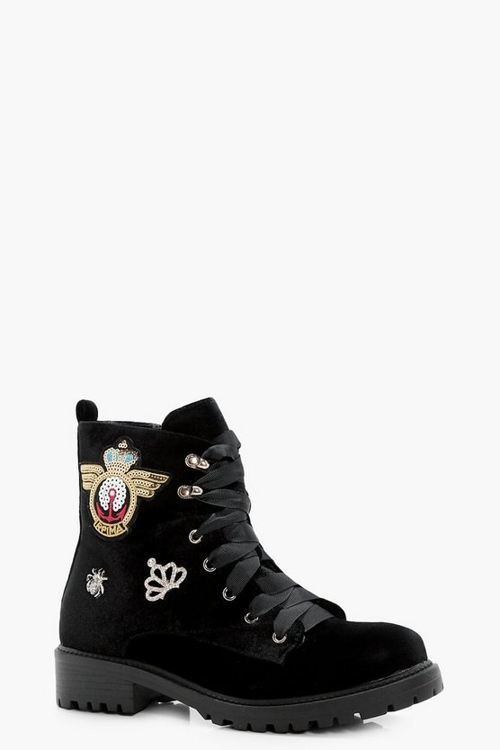 Layla Badge Detail Lace Up Hiker Boot