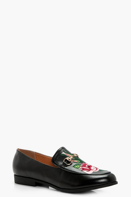 Tilly Embroidered T Bar Loafer