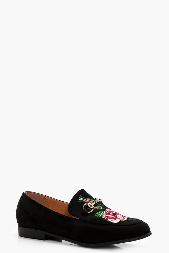 Molly Embroidered T Bar Loafer