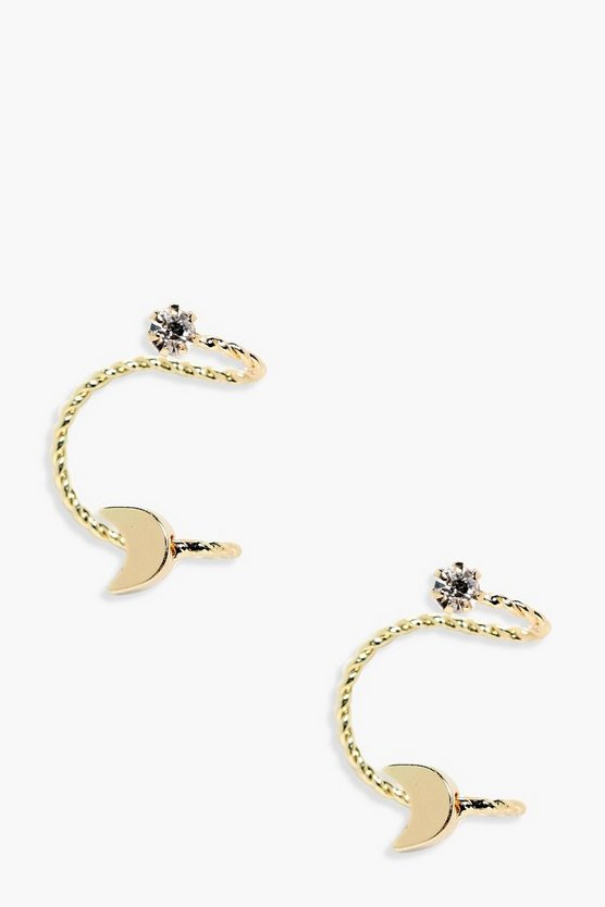 Leah Moon And Diamante Ear Cuff Pair