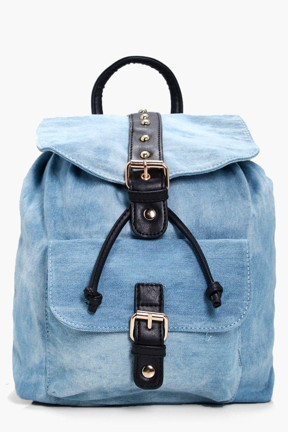 Denim And Stud Rucksack - blue - Natalie Denim And