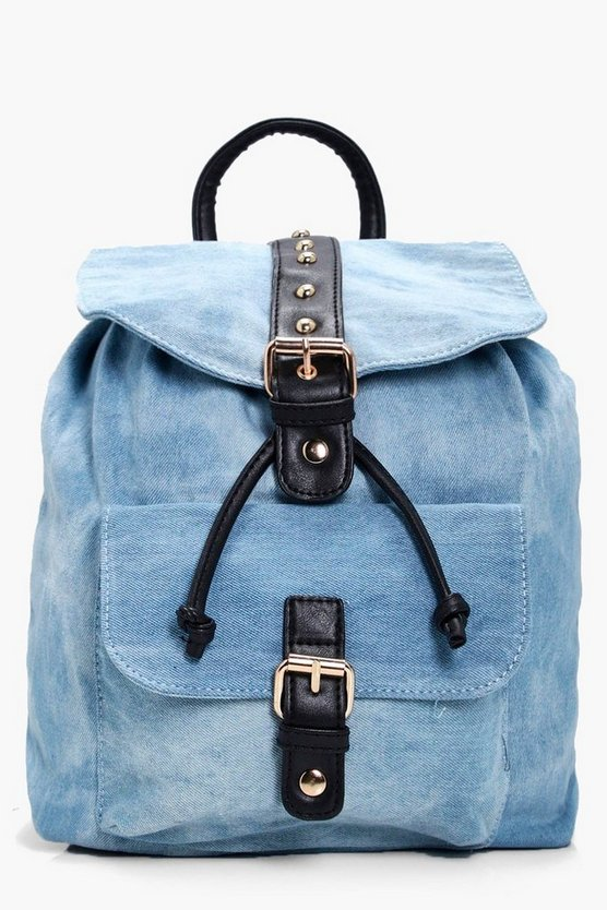 Natalie Denim And Stud Rucksack