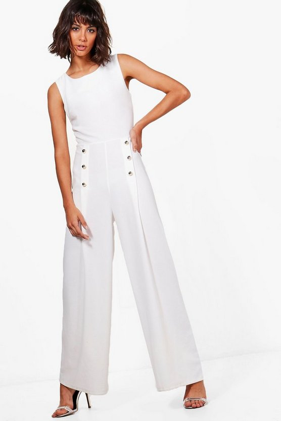 Alexis Button Detail Wide Leg Jumpsuit