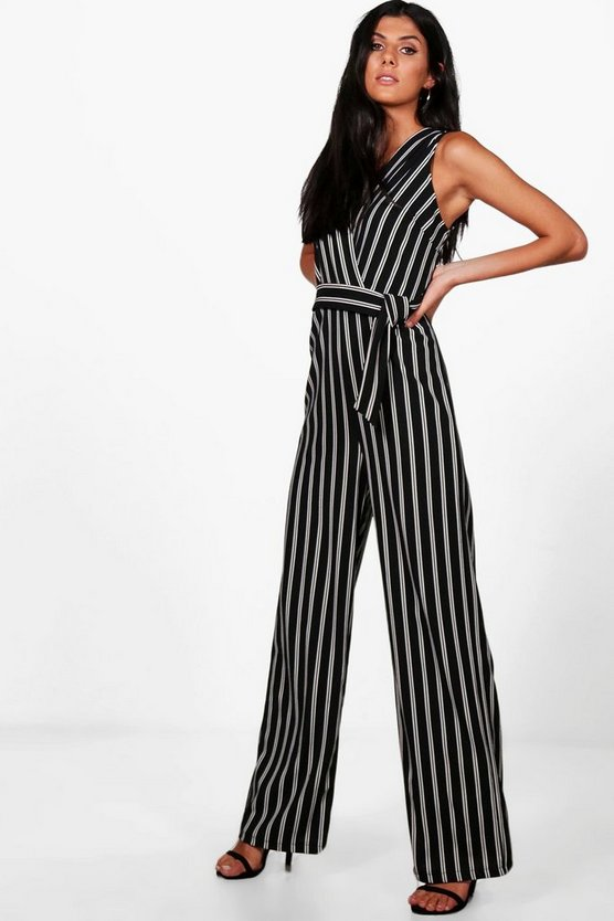 Annabelle Wrap Over Wide Leg Striped Jumpsuit