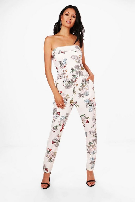 Faith Bandeau Floral Jumpsuit