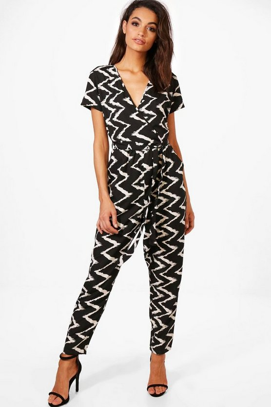 Grace Capped Sleeve Monochrome Jumpsuit