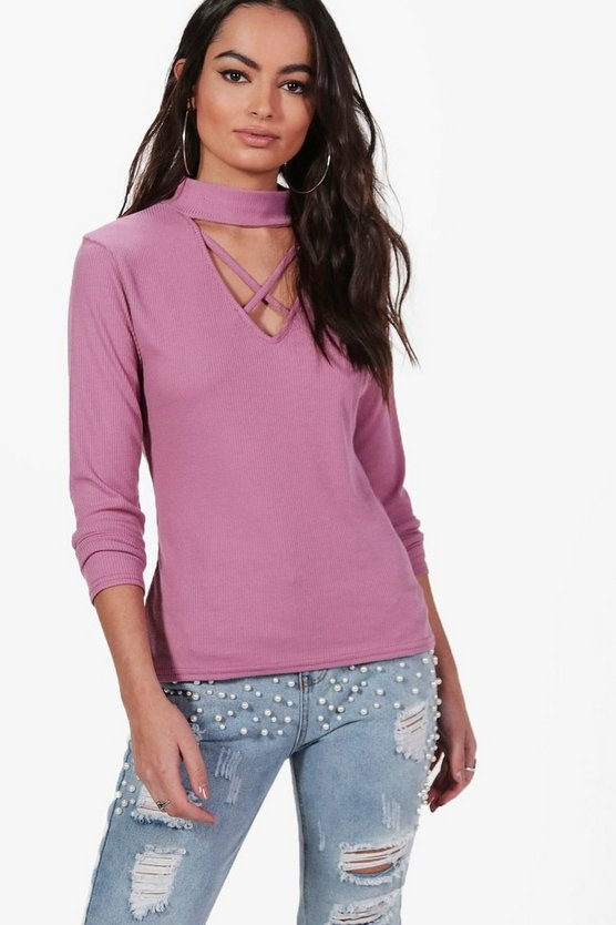 Harriet Strappy Choker Rib Knit Jumper