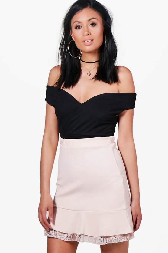 Evie Drop Hem Lace Trim Pastel Mini Skirt