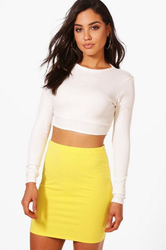 Basic Pastel Scuba Mini Skirt