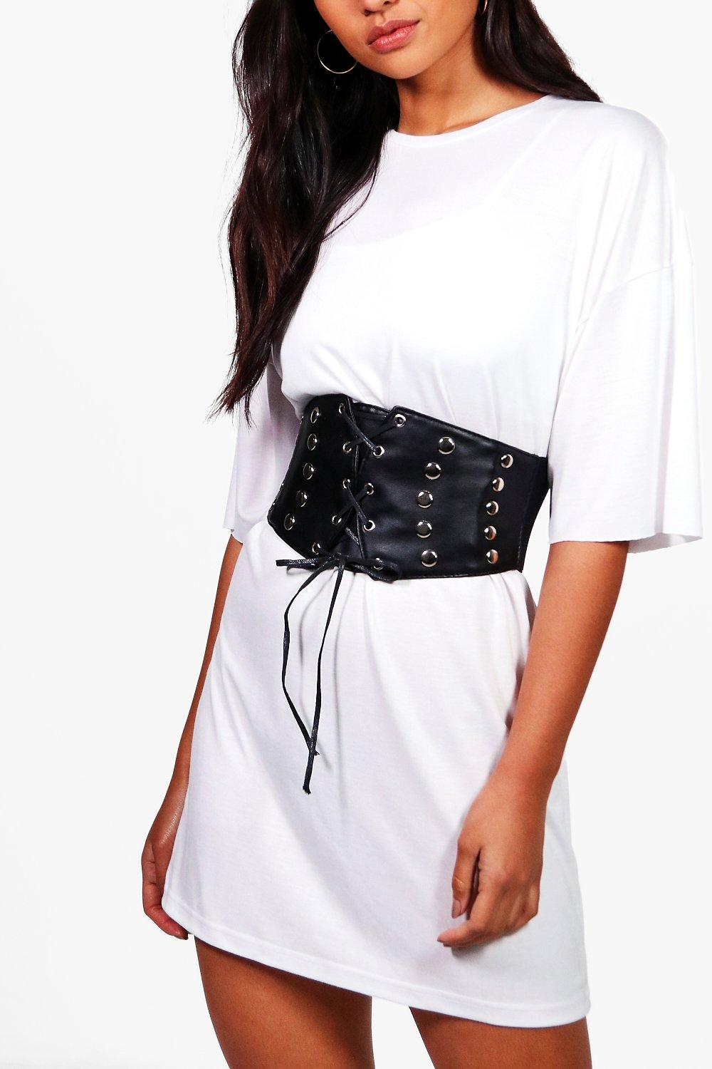 Stud Detailing Lace Up Corset Belt - black - Hanna