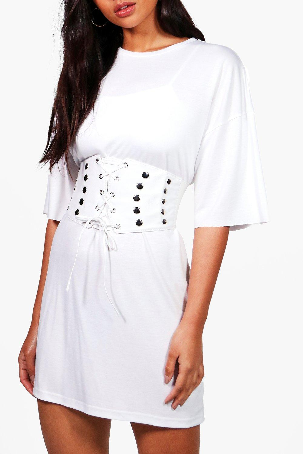 Stud Detailing Lace Up Corset Belt - white - Hanna