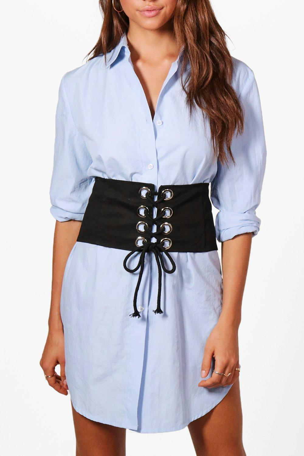 Denim Eyelet Detail Corset Belt - black - Elizabet