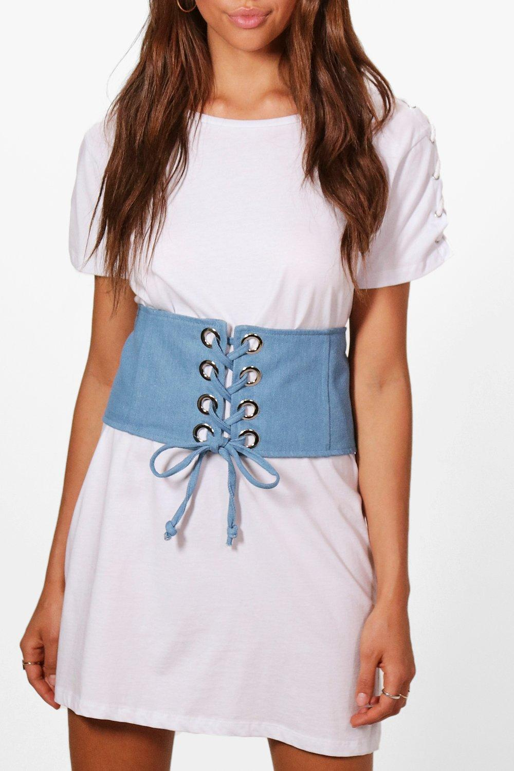 Denim Eyelet Detail Corset Belt - blue - Elizabeth
