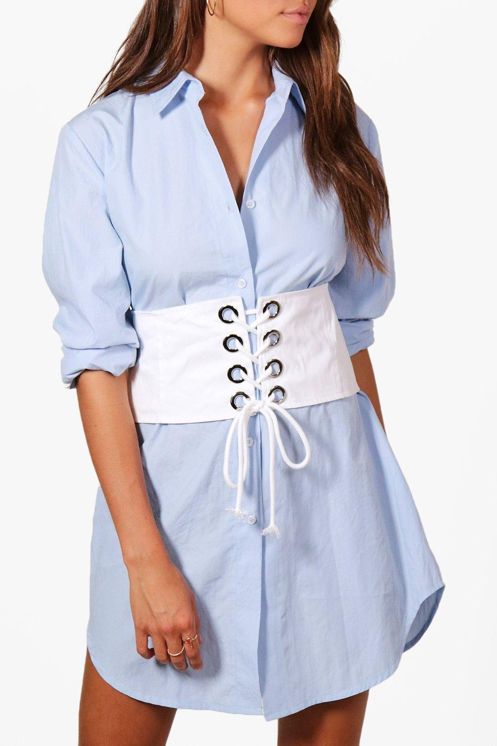 Denim Eyelet Detail Corset Belt - white - Elizabet