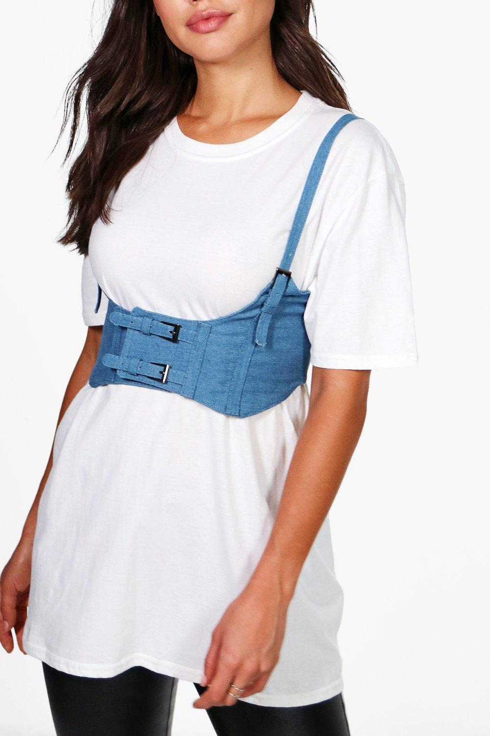 Double Buckle Strappy Corset Belt - denim - Daisy