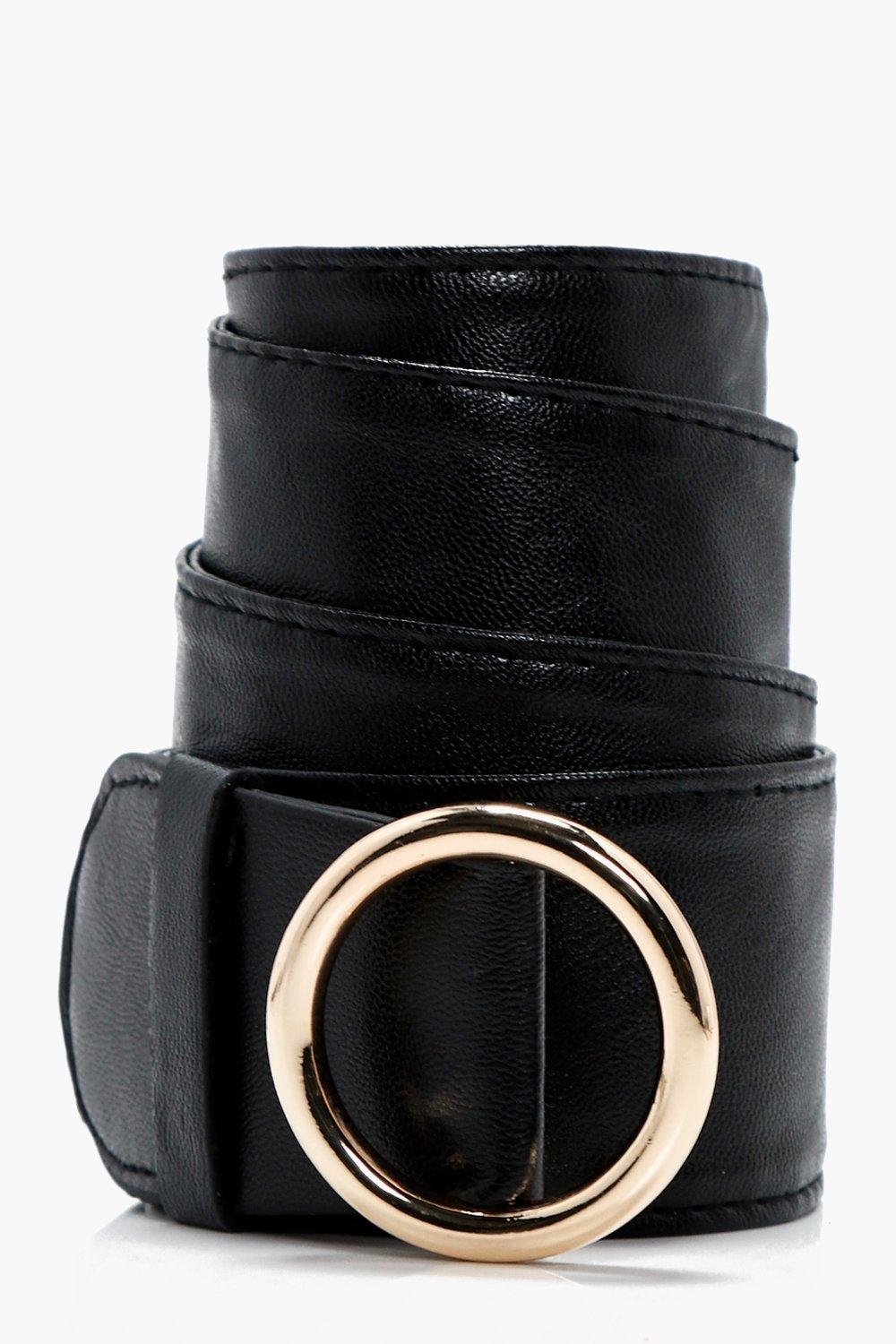 Circle Buckle Loop Through Belt - black - Lucy Cir