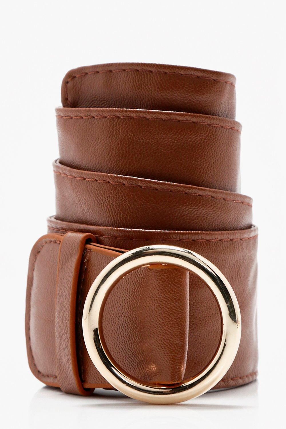 Circle Buckle Loop Through Belt - tan - Lucy Circl