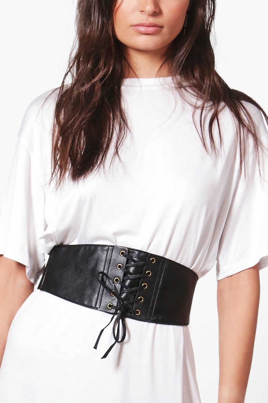 PU Lace Up Corset Belt - black - Maisie PU Lace Up