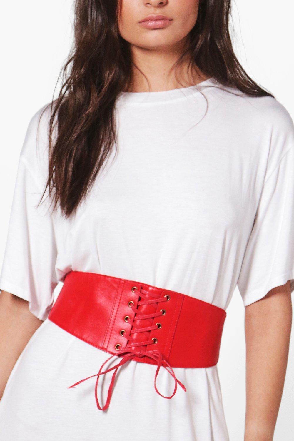 PU Lace Up Corset Belt - red - Maisie PU Lace Up C