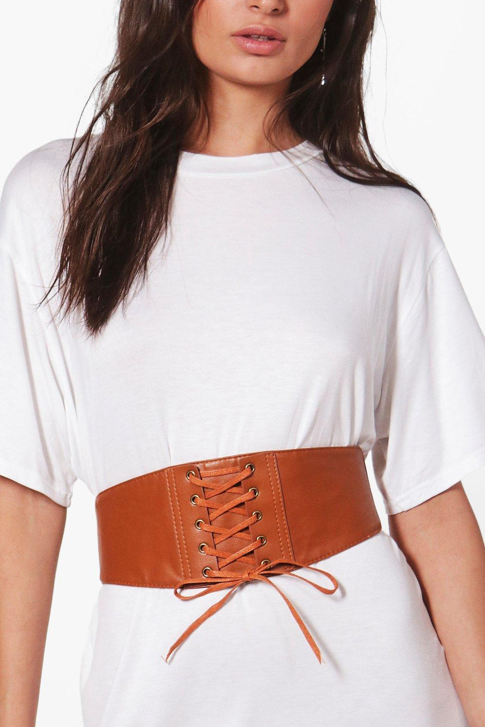PU Lace Up Corset Belt - tan - Maisie PU Lace Up C